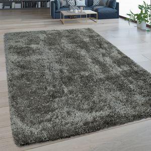 Hochflor Wohnzimmer Teppich Waschbar Shaggy Flokati Optik Einfarbig In Grau, Grösse:80x150 cm