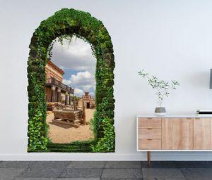 3D Wandtattoo Garten Tor Dschungel Western Saloon Prärie Cowboy Haus Indianer Pflanzen Tür Gewölbe Wand Aufkleber Wandsticker 11FB687, Größe in cm:55cmx90cm