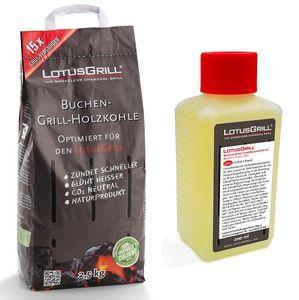 Spar-Set: LotusGrill Buchenholzkohle 2,5 kg Sack + Brennpaste 200 ml