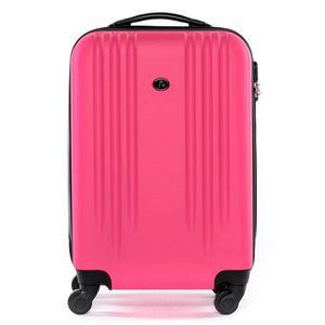 FERGÉ Handgepäck-Koffer Marseille ABS Dure-Flex pink Reisekoffer Kabinen-Trolley 4 Rollen Handgepäck-Koffer Hartschale