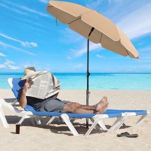 SONGMICS Sonnenschirm 200 cm |Sonnenschutz achteckiger Strandschirm aus Polyester knickbar  Schirmrippen aus Glasfaser Taupe GPU65BRV1