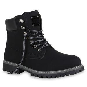 Mytrendshoe Herren Worker Boots Outdoor Schuhe Profil Sohle Gefüttert 812656, Farbe: Schwarz, Größe: 42