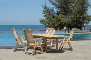 Möbilia Sitzgruppe 5-tlg aus Teak-Holz   4 Armlehnstühle, 1 Tisch ausziehbar   B 0 x T 0 x H 0 cm   natur   11020024   Serie GARTEN