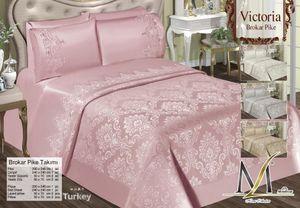 6-Teilige TAGESDECKE BETTÜBERWURF DECKE DOPPELBETT BETTGARNITUR 240cm x 240cm + Pique 230cm x 245cm + 4 KISSENBEZÜGE 50cm x 70cm in Pink (3914)