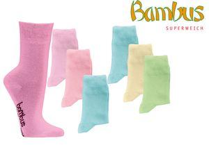 6  Paar Bambus Socken pastell Bambussocken Softrand ohne Gummi Damen Mädchen Gr. 39/42