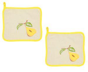 Betz 2 Stück Frottee Topflappen Schutzlappen BIRNE Größe 25x25 cm Farbe beige