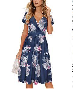 Damen Sommerkleid Kurzarm V-Ausschnitt Casual Dress Blauer Lilien L
