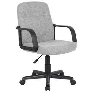 SixBros. Bürostuhl Drehstuhl Schreibtischstuhl Stoff Grau - H-8365L-2/2170