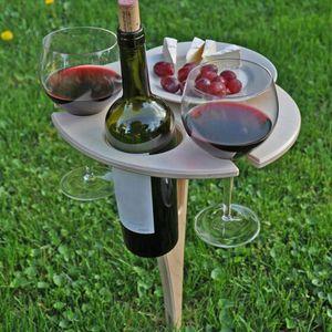 Klappbarer Weintisch im Freien Tragbarer Picknicktisch,Weinglasregal für den Außenbereich