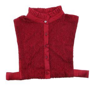 Collar Abnehmbarer Spitzenkragen Half Shirts Falscher Kragen für Damen Mädchen Farbe rot