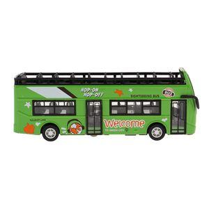 1:32 Diecast Auto Spielzeug zurückziehen Doppeldecker Sightseeing Bus Modell grün wie beschrieben