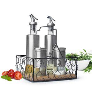 5-tlg. Menage Set mit Korb Salz & Pfefferstreuer Ölspender Essigspender Edelstahl Glas