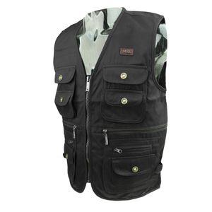 Uni Outdoor Sport Ärmellos Weste + mehrere Tasche, Angler Weste - Größe Auswählen Schwarz 2XL