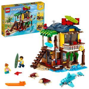 LEGO 31118 Creator 3-in-1 Surfer-Strandhaus, Leuchtturm, Poolhaus und Minifiguren, kreatives Spielzeug ab 8 Jahren, Geschenk für Kinder