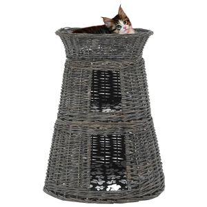 [BEST SELLER] 3-tlg. Katzenkorb für Hunde &Katzen/Korbhöhle/Transportkorb/Transportbox stabil und komfortabel-Set mit Kissen Grau 47x34x60 cm Natur Weide*7037