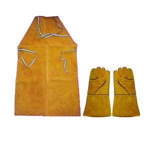 Schweißer-Schutzwärme-Isolierungs-Rindleder-Leder-Schweißerschutz Mit Handschuhen