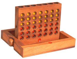 Vier gewinnt aus Holz, 16,5 cm x 13,5 cm - Holz-Spiel