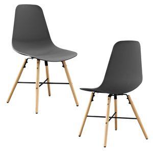 [en.casa] 2er-Set Esszimmerstuhl grau Kunststoff Essgruppe Stuhl Design Retro