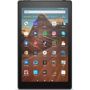 Amazon Fire HD 10 Schwarz, Hands-  Free with Alexa,  10' Full-HD Display, 32 GB /2GB /1,8GHz Quad Core / Black - with  Special Offers, Farbe:Schwarz