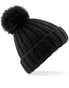Verbier Fur Pom Pom Chunky Beanie - Farbe: Black - Größe: One Size