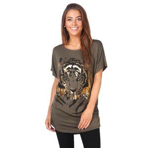 Krisp Damen Oversize-T-Shirt mit Tiger-Design KP188 (36 DE) (Khaki)