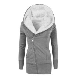 Damen Baumwoll Hoodie Sweatshirt Warm Inside Fleece Gepolsterter Mantel Schlanker Reißverschlussmantel Größe:XXL,Farbe:Grau