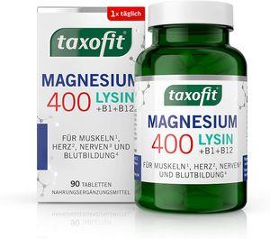 taxofit Magnesium 400 + Lysin   Für Muskeln, Nerven, Herz und Energie   90 Stück   PZN 16869409