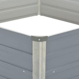 vidaXL Hochbeet 129 x 129 x 46 cm Verzinkter Stahl Grau