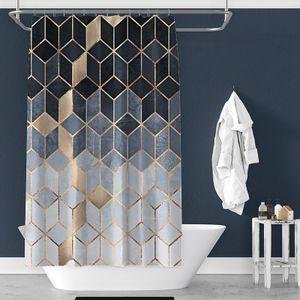 Duschvorhang, Marmormuster wasserdichter geometrischer Siebdruck-Badezimmervorhang