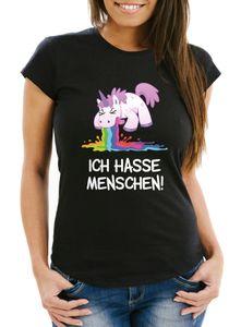 Damen T-Shirt Spruch Ich hasse Menschen kotzendes Einhorn Frauen Fun-Shirt lustig Moonworks® schwarz M
