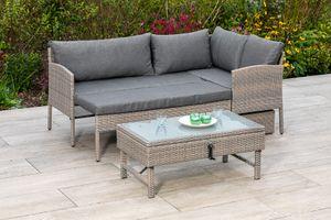 Balkonlounge Balkonset Lounge Set VALLETTA, Stahl + Polyrattan graubeige, mit Liegefunktion und verstellbarem Tisch, Polster grau