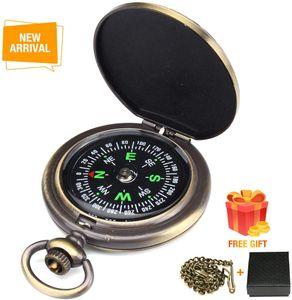 Kompass Outdoor,Premium Portable Messingkompass Klassischer Sprungdeckel Wasserdichter Marschkompass Taschenuhr Flip-Open Navigation Tools mit Leuchtziffern für Camping Wandern,zufälliger Stil