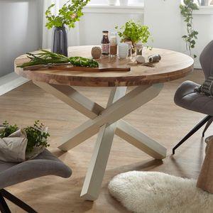 WOHNLING Design Esszimmertisch BOHA rund Ø 120 cm x 75 cm Akazie Massiv-Holz | Landhaus Esstisch 4 Personen | Küchentisch Tisch für Esszimmer braun