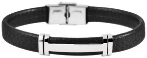 Akzent Uni - Armband aus Echtleder mit Edelstahl Länge 21,5 cm 5040260 : 1 Farbe: 1