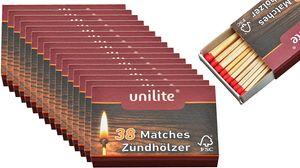 Streichhölzer 16 Schachteln Holz/Feuer Zündholzschachtel Zündhölzer 608 Stück Sicherheitszündhölzer, 45mm