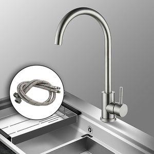 Küchenarmaturen Wasserhahn Küche Drehbar Einhand Küchenarmatur Edelstahl Armatur mischbatterie Rund