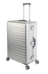 Aluminium Koffer Trolley mit 4 Rollen Alu-Reise-Koffer Vol.102L L-75cm Silber