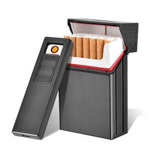035A 20 Zigarettenetui Tabakspender Aufbewahrungsbox mit winddichtem Feuerzeug, schwarz