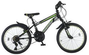 20 Zoll Kinder Mädchen Jungen Jungenfahrrad Fahrrad Mountainbike Mädchenfahrrad Kinderfahrrad Mädchenrad MTB Bike Rad Unisex Gabelfederung Federgabel 21 Gang Shimano TIGER Schwarz Grün