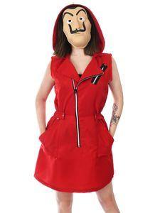 Rotes Kleid für Haus des Geldes Fans   Frauen Kostüm mit Dali Maske   Größe: M