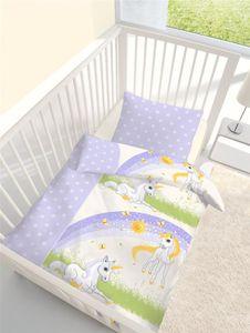 Dobnig Biber Baby Bettwäsche 2 teilig Bettbezug 100 x 135 cm Kopfkissenbezug 40 x 60 cm Einhorn flieder