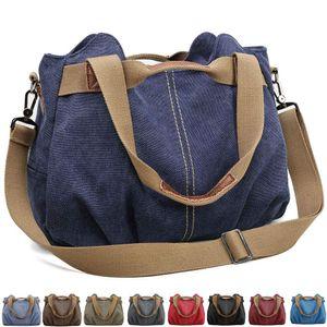 Handtasche Damen Canvas Schultertasche Multifunktionale Umhängetaschen Casual Hobo Groß Taschen für Arbeit Schule Beach Shopper Dunkelblau