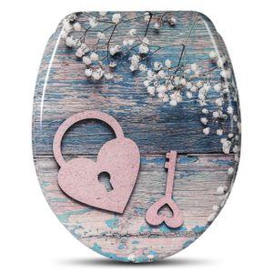 WOLTU WC-Sitz Duroplast mit Absenkautomatik heart key