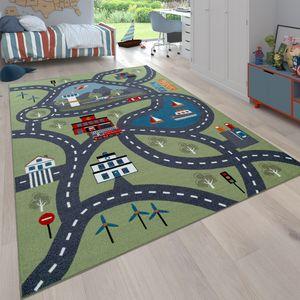Kinder-Teppich Für Kinderzimmer, Spiel-Teppich Mit Straßen-Motiv, In Grün, Grösse:120x160 cm
