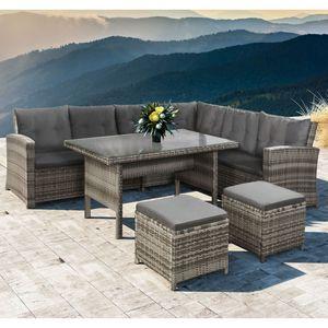 Polyrattan Sitzgruppe Lounge Santa Catalina beige-grau – Gartenmöbel-Set mit Eck-Sofa, 2 & Tisch - bis 6 Personen - wetterfest & stabil | Juskys