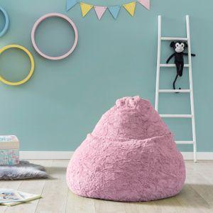 Lumaland Luxury Fluffy Sitzsack stylischer Webplüsch Beanbag 120L Füllung Pastell-Pink