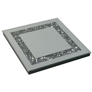 Formano Deko Spiegeltablett Stones mit Spiegelsteinchen aus Spiegelglas, 20x20cm, 1 Stück