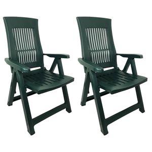 2 Stück Klappstuhl Kunststoff Grün 5-Positionen Grün