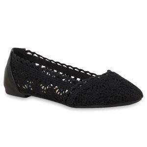 Mytrendshoe Spitze Damen Ballerinas Schuhe Slipper Flats 75033, Farbe: Schwarz, Größe: 37