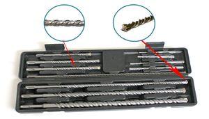 11 tlg Bohrer Set SDS Plus mit Koffer doppelter Wendel+Kreuz Quadro Beton Bohrer